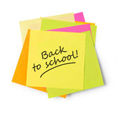 Back to school adhesive note Royalty Free Stock Images