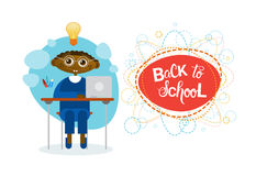 Back To School African American Pupil Boy Sitting At Desk Studing Stock Images