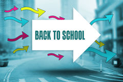 Back to school against new york street Royalty Free Stock Image
