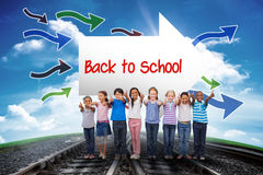 Back to school against railway leading to blue sky Stock Photo