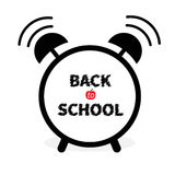 Back to school. Alarm clock with chalk text. White background. Isolated. Flat design. Royalty Free Stock Photography