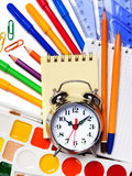 Back to School. Alarm clock, notepad, kraskib pencils, markers a Stock Photo
