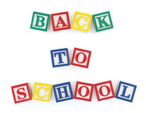 Back to School Alphabet Blocks. Wooden alphabet blocks on  white arranged to form the words, 'back to school Royalty Free Stock Photography