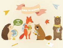 Back to school Animal characters Education design royalty free illustration