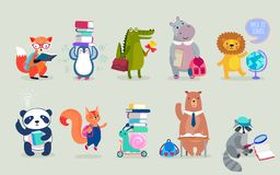 Back to school Animals hand drawn style, education theme. Cute characters. Bear, penguin, hippo, panda, fox and others. royalty free illustration