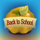Back to school apple banner. Golden apple with back to school banner Stock Photos