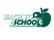 Back to school with apple, drawn banner Stock Images