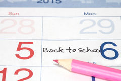 Back to School  Appointment on calendar Royalty Free Stock Photography