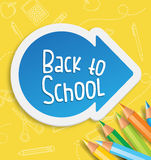 Back to school with arrow. Back to school design with arrow and colored pencils in a yellow background with school related patterns vector illustration