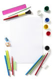Back To School Art Pad Paints Pencils And Pens Stock Photo