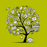 Back to school, art tree for your design Royalty Free Stock Images