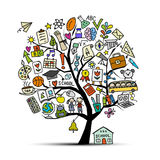 Back to school, art tree for your design Royalty Free Stock Image