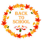 Back to school autumn background with wreath of leaves and text Stock Images