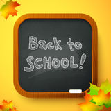 Back to school autumn chalkboard vector card Royalty Free Stock Images