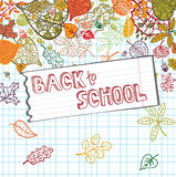 Back to school.Autumn leaves,Lined notepaper Royalty Free Stock Photos