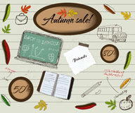 Back to school and autumn sale poster. Royalty Free Stock Photography