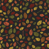 'Back to school'. Autumn texture with scraped leaves. Seamless pattern. Stock Images
