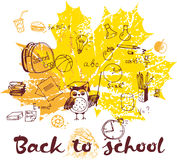 Back to school autumnal leaves poster. Doodle back to school autumnal leaves poster Stock Photo