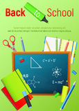 Back to School. Back to School colorful poster with blackboard and school supplies. Vector illustrations. Back to School. Back to School colorful cartoon poster Royalty Free Stock Image