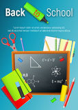 Back to School. Back to School colorful poster. Back to School. Back to School colorful cartoon poster with blackboard and school supplies on blue background Stock Image