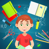 Back to School. Back to School colorful poster with school supplies and boy.. Back to School. Back to School colorful poster with school supplies and boy on Stock Photography