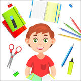 Back to School. Back to School colorful poster with school supplies and boy. Back to School. Back to School colorful poster with school draw and cute supplies Stock Photo