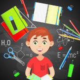 Back to School. Back to School colorful poster with school supplies and boy. Back to School. Back to School colorful poster with school supplies and boy on Stock Photography