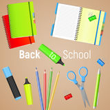Back to School. Back to School colorful poster with school supplies. Vector illustration. Back to School. Back to School colorful poster with realistic school Royalty Free Stock Photography