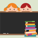 Back to school. Back to school-kids, blackboard an. D books. Vector illustration Stock Photos