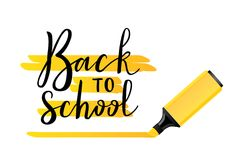 Back to school. Virtual postcard, banner design, holiday greeting for social media post, ads, poster, email, card. Lettering title Royalty Free Stock Photos
