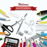 Back to school background with aids on square paper
