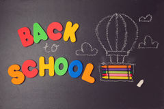 Back to school background with air balloon made from pencils and letters Royalty Free Stock Photo