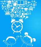 Back to school background with alarm clock and education icons. File is saved in AI10 EPS version Stock Photography