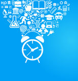 Back to school background with alarm clock and education icons. File is saved in AI10 EPS version Stock Image