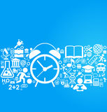 Back to school background with alarm clock and education icons. File is saved in AI10 EPS version Royalty Free Stock Photography