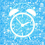 Back to school background with alarm clock and education icons. File is saved in AI10 EPS version Stock Photos