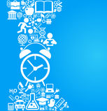 Back to school background with alarm clock and education icons. File is saved in AI10 EPS version Stock Images