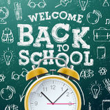 Back to school background  with alarm clock Stock Photo