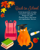 Back to school background with autumn leaves, cat, graduate cat, backpack, books, apple and text Royalty Free Stock Photo