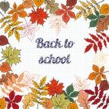 Back to school background. Back to school background on school blackboard with autumn leafs. Vector Illustration stock illustration