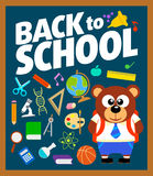 Back to school background with bear Royalty Free Stock Image