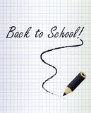 Back to school background with a black pencil. Vector illustration Stock Photography