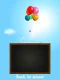 Back to school background with blackboard and balloons Stock Image