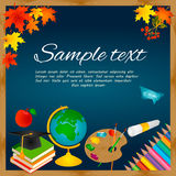 Back to school background with blackboard, leaves, palette, note paper, text, globe, pencils, apple Royalty Free Stock Images