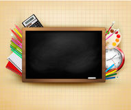 Back to school. Background with blackboard and sch Stock Photo