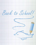 Back to school background with a blue pencil and dolphin Royalty Free Stock Photography