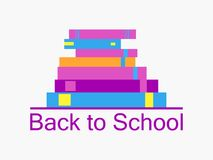 Back to school background with books. Bookshelf, textbooks are isolated on white background. School supplies icons. . Vector. Illustration Royalty Free Illustration