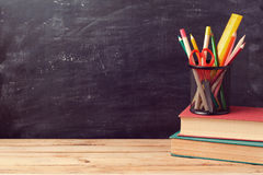 Back to school background with books and pencils Stock Image