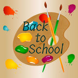 Back to school background with brigrt palette paint, brushes and text Stock Photo