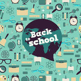 Back to school - background with bubble and icons Royalty Free Stock Photo